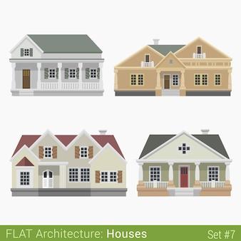 Nowoczesne budynki wiejskie podmiejskie kamienice ustawione elementy miasta stylowa architektura kolekcja nieruchomości