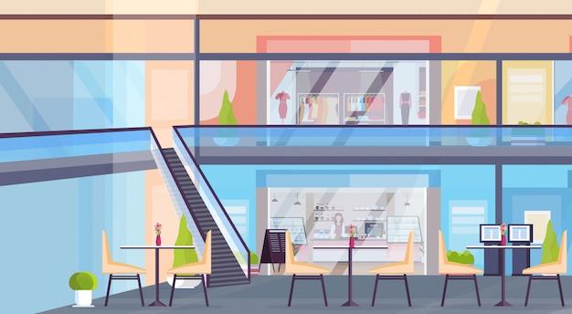 Nowoczesne centrum handlowe z butikiem z ubraniami i kawiarnią puste bez ludzi supermarket wnętrze poziome mieszkanie