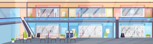 Nowoczesne centrum handlowe z odwiedzającymi butiki z ubraniami i kawiarniami, siedząc w kawiarni supermarket wnętrze poziome transparent płaski