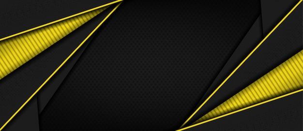 Nowoczesne ciemne 3d streszczenie tło z żółtym kształcie linii