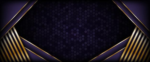 Nowoczesne ciemne fioletowe tło ze złotymi liniami