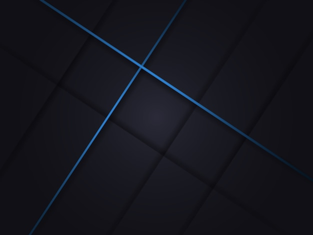 Nowoczesne ciemne tło z cieniami i niebieskimi liniami.