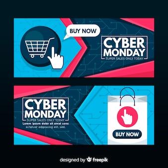 Nowoczesne cyber poniedziałek banery z płaskiej konstrukcji