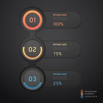 Nowoczesne czarne infografiki. układ przepływu pracy, schemat, projektowanie stron internetowych, opcje numeryczne.