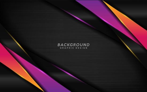 Nowoczesne czarne tło z kombinacją fioletowych i pomarańczowych linii.