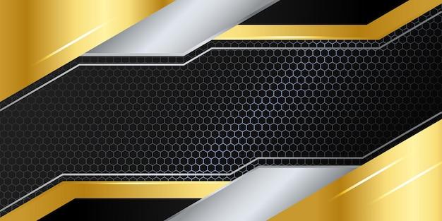 Nowoczesne czarno-złote abstrakcyjne tło 3d z lekką dekoracją i wzorem tekstury metalu