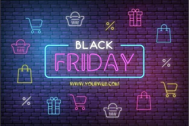 Nowoczesne czarny piątek sprzedaż tło z neonowymi ikonami