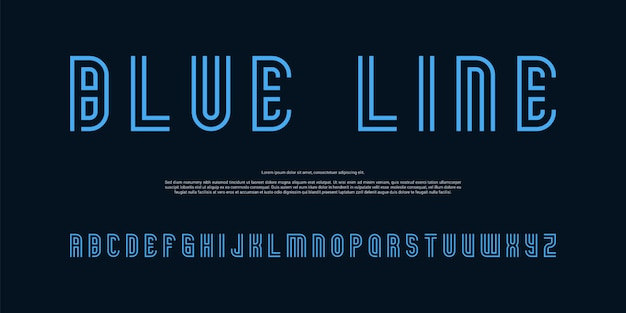 Nowoczesne czcionki alfabetu niebieskie linie