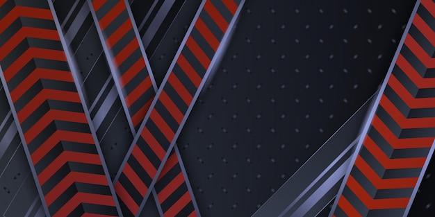 Nowoczesne czerwone metaliczne abstrakcyjne tło 3d z dynamicznymi nakładającymi się warstwami i lekką dekoracją