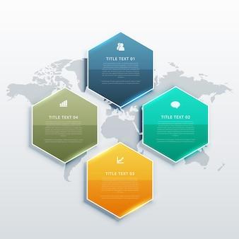 Nowoczesne cztery kroki bannerów projektowych infografiki dla prezentacji biznesowych