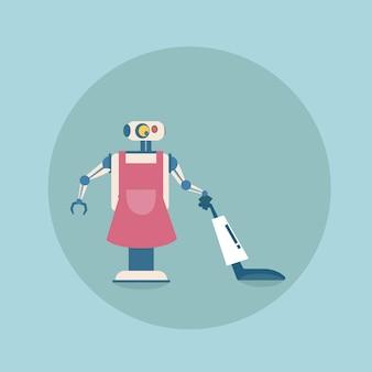 Nowoczesne czyszczenie robota z ikoną odkurzacza, mechanizm futurystycznej sztucznej inteligencji sprzątania