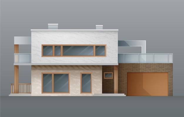 Nowoczesne domy ustawiają znaki nieruchomości na płaskiej ilustracji