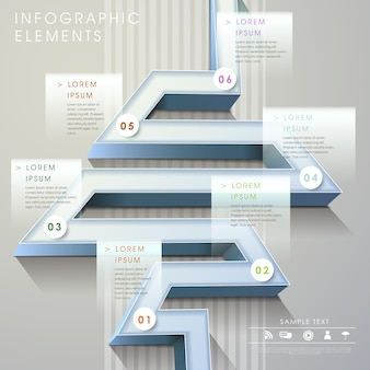 Nowoczesne elementy infografiki w stylu labiryntu 3d wykresu słupkowego