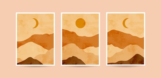 Nowoczesne estetyczne minimalistyczne abstrakcyjne ilustracje roślin.