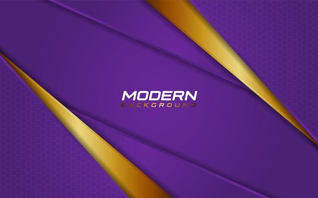 Nowoczesne fioletowe tło ze złotymi dynamicznymi kształtami linii wektor ilustracja szablonu projektu element