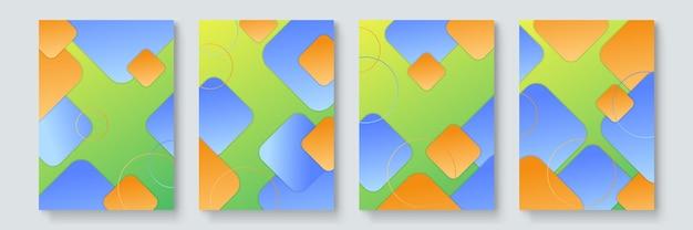 Nowoczesne futurystyczne abstrakcyjne geometryczne okładki w stylu bauhaus