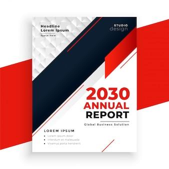 Nowoczesne geometryczne czerwony roczny raport biznesowy szablon
