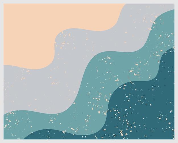 Nowoczesne geometryczne nadruki fal morskich, ciepła neutralna sztuka, wystrój boho. abstrakcyjna grafika, minimalistyczna sztuka, minimalna sztuka do druku.