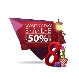 Nowoczesne geometryczne zniżki baner na dzień kobiet