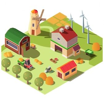Nowoczesne gospodarstwo ekologiczne, izometryczny dziedziniec ranczo