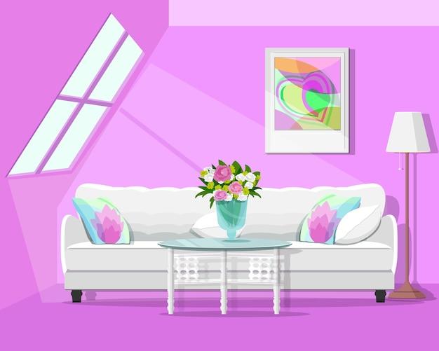 Nowoczesne graficzne loftowe wnętrze. kolorowy zestaw do pokoju. ilustracja.
