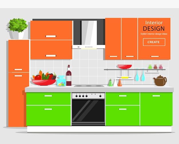 Nowoczesne graficzne wnętrze kuchni. kolorowa kuchnia z meblami. sprzęt kuchenny i domowy. ilustracja.