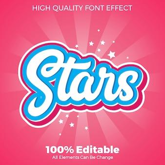 Nowoczesne gwiazdy srcipt naklejki styl tekstu edytowalny efekt czcionki