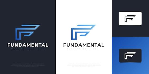 Nowoczesne i abstrakcyjne projektowanie logo litery f w niebieskim gradientem. graficzny symbol alfabetu dla tożsamości biznesowej