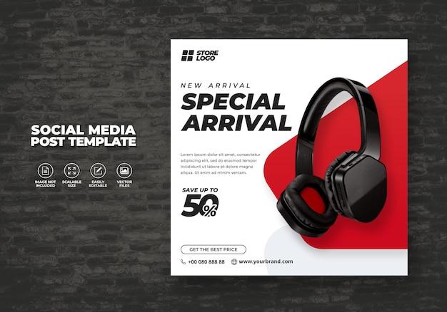 Nowoczesne i eleganckie słuchawki bezprzewodowe w kolorze białym czerwonym do media społecznościowych szablon banera wektor wolny