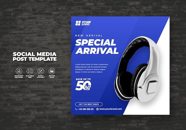 Nowoczesne i eleganckie słuchawki bezprzewodowe w kolorze białym niebieskim do mediów społecznościowych szablon baner wektor