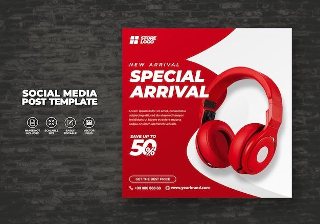 Nowoczesne i eleganckie słuchawki bezprzewodowe w kolorze czerwonym białym do mediów społecznościowych szablon banera wektor