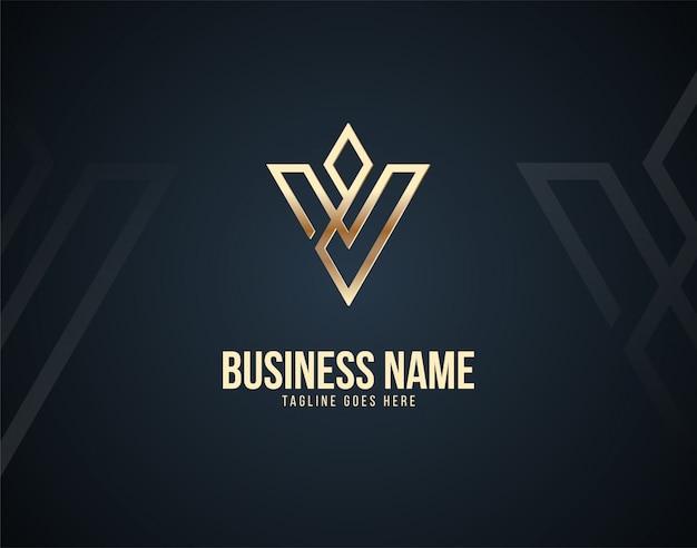Nowoczesne i luksusowe szablon logo litery v z efektami koloru złota