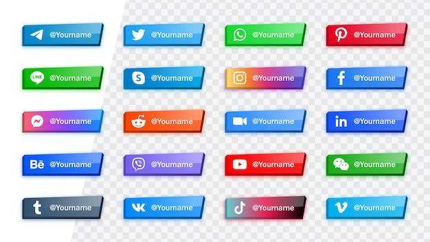 Nowoczesne ikony mediów społecznościowych, logo lub banery platformy sieciowej z jasnymi błyszczącymi przyciskami