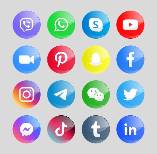 Nowoczesne ikony mediów społecznościowych lub logo przycisków sieciowych