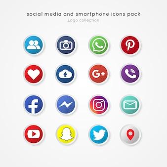 Nowoczesne ikony mediów społecznych i smartphone pack stylu koło przycisku