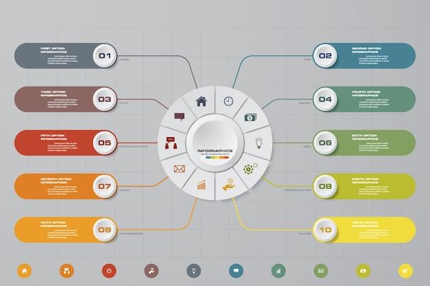 Nowoczesne infografiki biznesu prezentacji 10 opcji