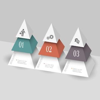 Nowoczesne Infografiki Szablon W Formie Piramid Premium Wektorów