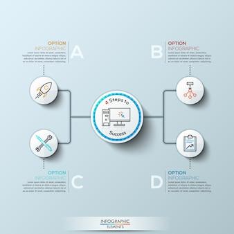 Nowoczesne infografiki z czterema opcjami