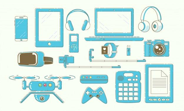 Nowoczesne inteligentne gadżety, zestaw urządzeń cyfrowych
