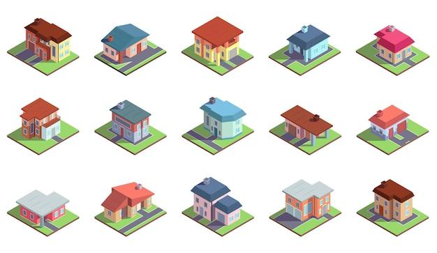 Nowoczesne izometryczne podmiejskie wiejskie budynki mieszkalne. własność prywatna, kamienice budynki wektor zestaw ilustracji. wiejskie wygodne domy i budowanie domków izometrycznych