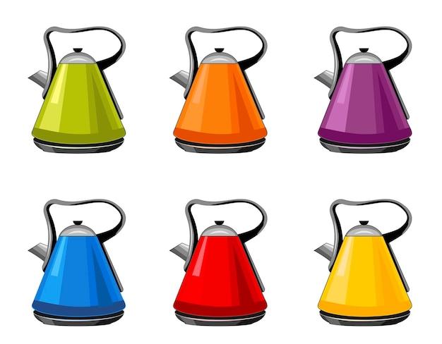 Nowoczesne, jasne czajniki czajniki elektryczne izolowane kreskówka płaski zestaw ikonurządzenie domowe do gotowania