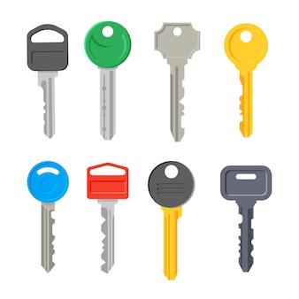 Nowoczesne klucze wektor zestaw na białym tle. narzędzie bezpieczeństwa domu.