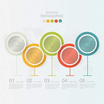 Nowoczesne koła infografiki 5 element i ikony
