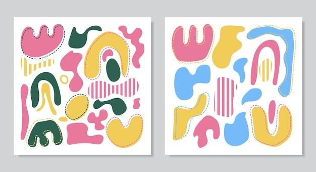 Nowoczesne kolaże wektorowe z ręcznie rysowanymi organicznymi kształtami, teksturami i elementami graficznymi