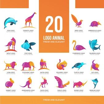 Nowoczesne koło siatki logo 20 zwierząt na baner lub ulotki