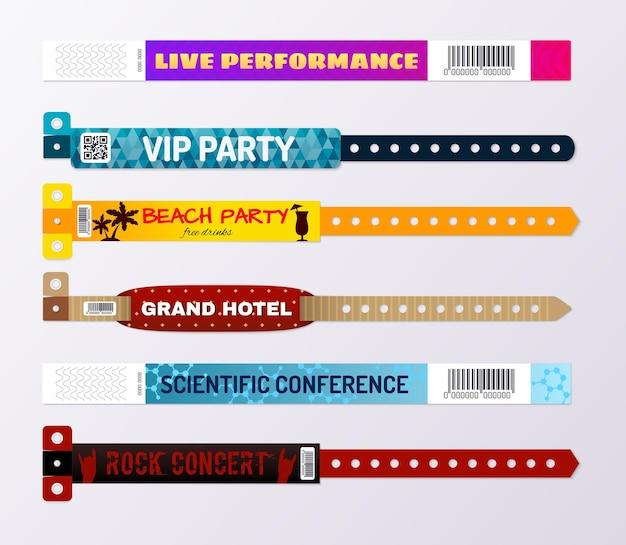 Nowoczesne kolorowe bransoletki hotelu hotelowego koncerty wydarzenia przechodzą uczestnicy konferencji id opaski na rękę realistyczny zestaw ilustracji na białym tle