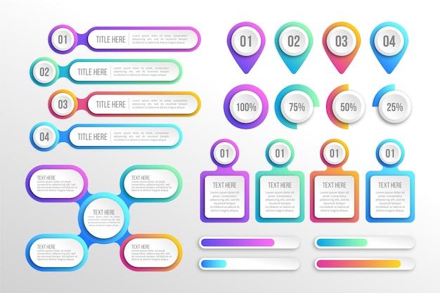 Nowoczesne kolorowe gradientowe elementy infographic