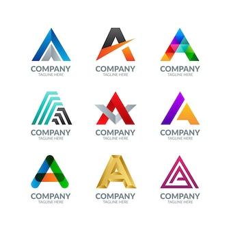 Nowoczesne kolorowe litery a logo kolekcja