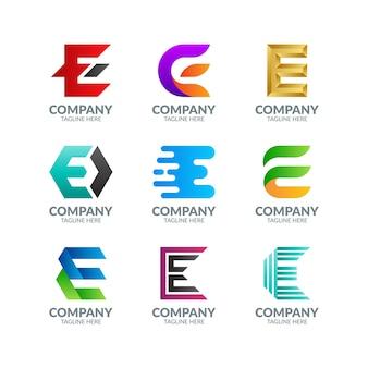 Nowoczesne kolorowe litery e. kolekcja logo
