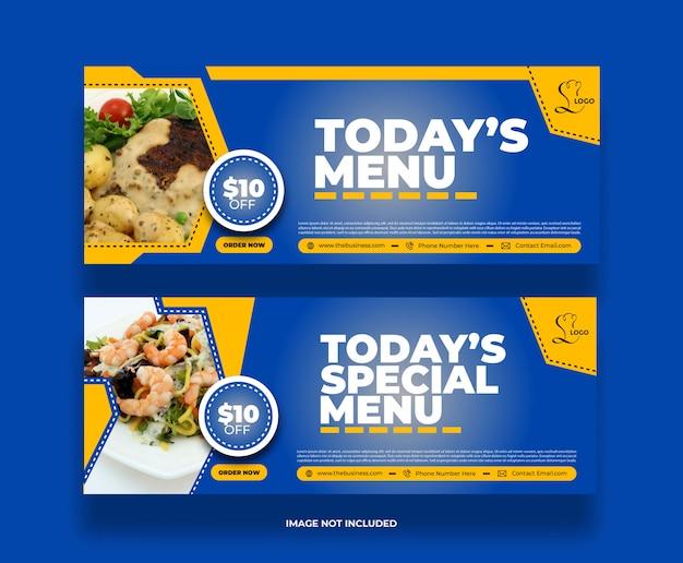 Nowoczesne kolorowe pyszne jedzenie oferuje baner restauracji na post w mediach społecznościowych